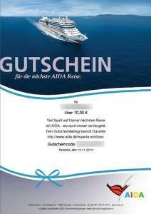 AIDA-Reisepreisgutschein