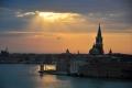 Venedig: Hafeneinlauf im Sonnenaufgang