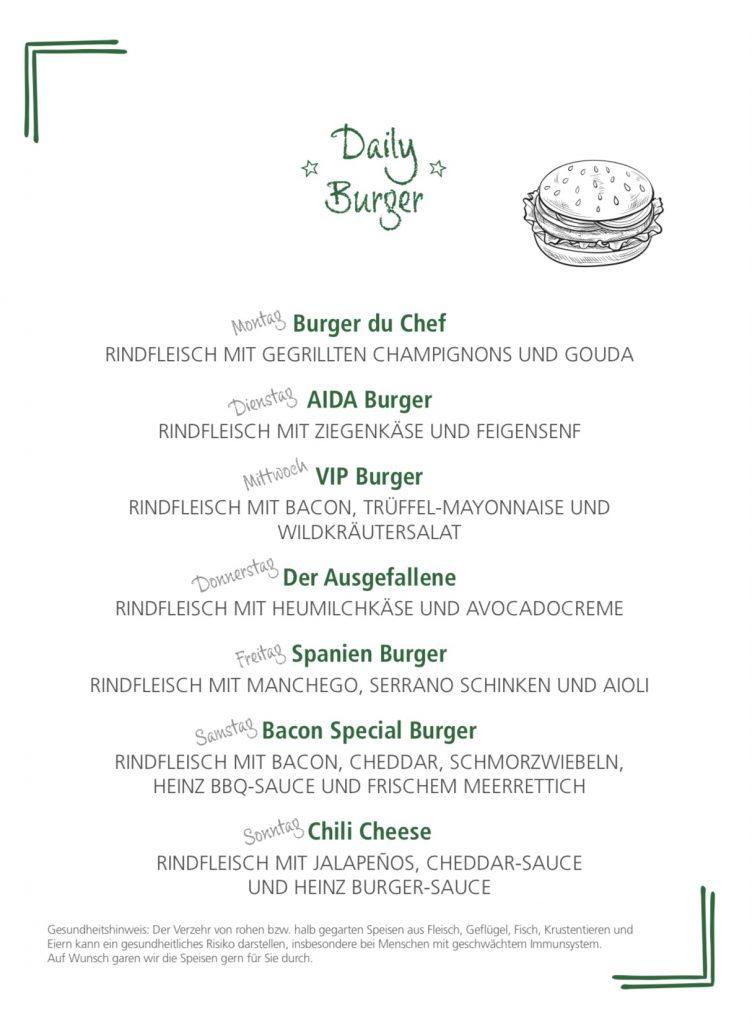 Speisekarte Best Burger